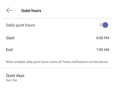 Screen showing quiet hour options in Teams