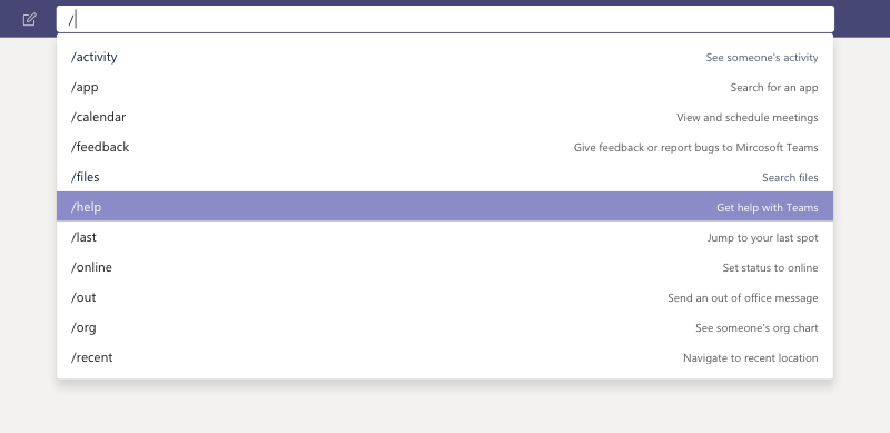 Search bar commands in Microsoft Team