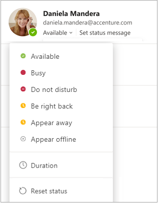 Screen showing status options