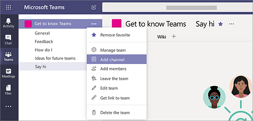 Screenshot showing how to add a channel in Teams
