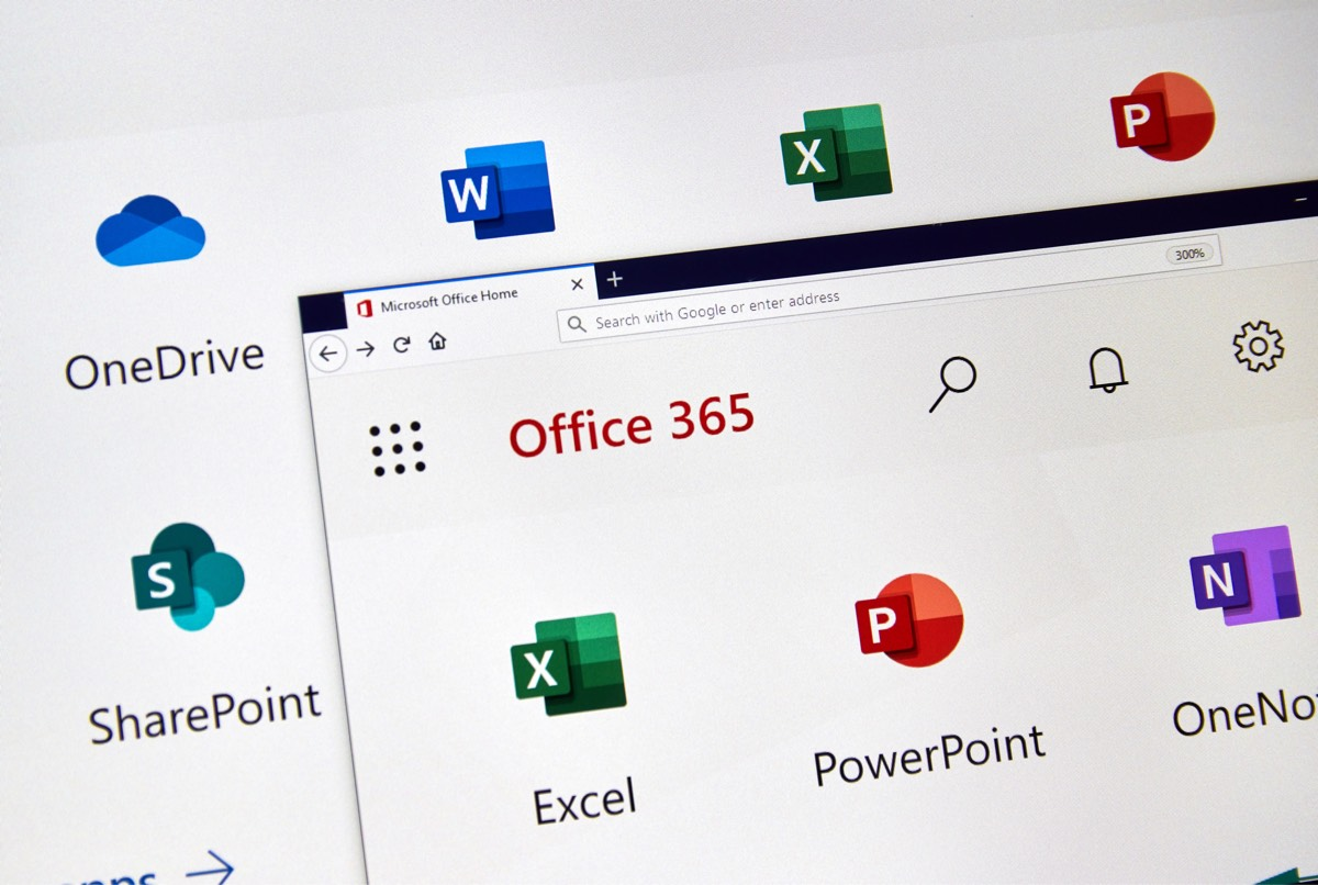 Monitor screen showing a range of Office 365 apps