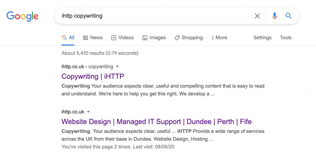 Screenshot of a Google search for ihttp copywriting